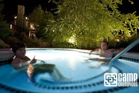 Aaron Muss and Brent relaxing at The Black Creek Sanctuary hot tub.