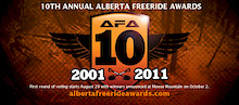 10th Annual Alberta Freeride Awards Sunday, October 2nd