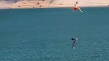 Video: Biggest Bicycle Jump into a Lake?
