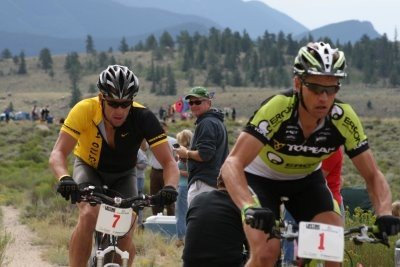Dave Wiens leading Lance Armstrong in the Leadville 100...one of Wiens' six Leadville victories. Photo by Snagglepuss