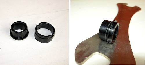 The new 142 12mm front endcap left next to the original 20mm endcap. Notice the O-ring right behind the flange that retains the new 142 12mm endcap inside the Mavic hub axle. The O-ring locks the new endcap in place.